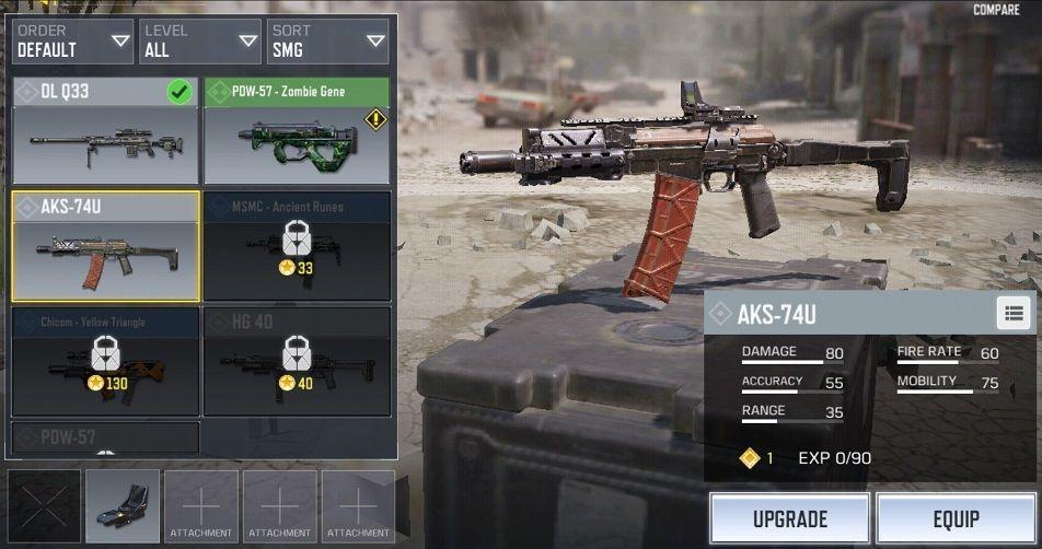 Attachment dan Perk Terbaik AKS-74U COD Mobile